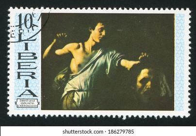 LIBERIA - CIRCA 1969: stamp printed by Liberia, shows David and Goliath by Caravaggio, circa 1969