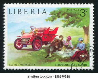 LIBERIA - CIRCA 1973: stamp printed by Liberia, shows Cadillac, circa 1973