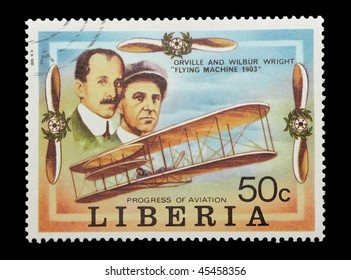 LIBERIA - CIRCA 1978: mail stamp celebrating the first flight of the Wright brothers, circa 1978