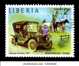 LIBERIA - CIRCA 1982:  Canceled postage stamp depicting antique 1910 Stanley Steamer obsolete after new government took over. Circa 1982
