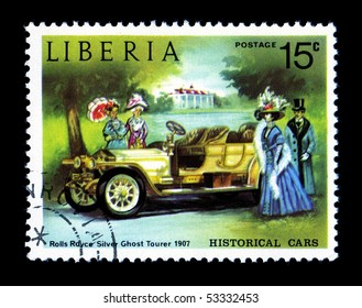 LIBERIA - CIRCA 1982: Liberia Canceled postage stamp depicting antique Rolls Royce car obsolete when new government took power. Circa 1982