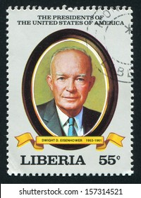 LIBERIA - CIRCA 1982: stamp printed by Liberia, shows President of the United States Dwight D. Eisenhower, circa 1982