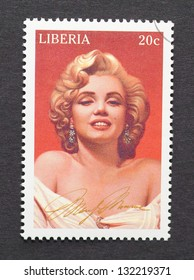 LIBERIA - CIRCA 1996: a postage stamp printed in Liberia showing an image of Marilyn Monroe, circa 1996.