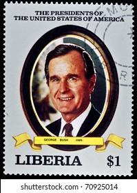 "LIBERIA - CIRCA 2000s: A stamp printed in Liberia shows President George Bush, circa 2000s. ""All USA Presidents"" series."