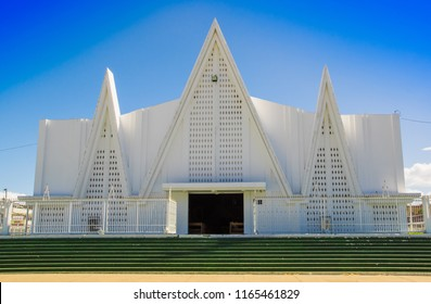 LIBERIA, COSTA RICA, JUNE, 21, 2018: Outdoor view of beautiful white church of Liberia Guanacaste Costa Rica in gorgeous blue sky in summer day