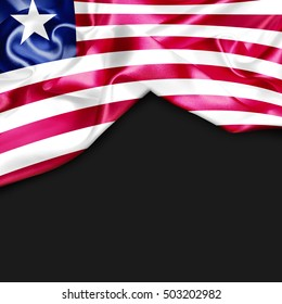 Liberia Country Flag on black background