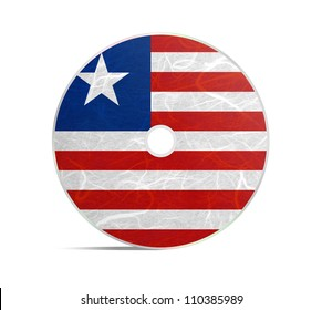 Liberia flag DVD. Mulberry paper on white background.