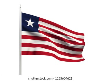 Liberia flag floating in the wind with a White sky background. 3D illustration.