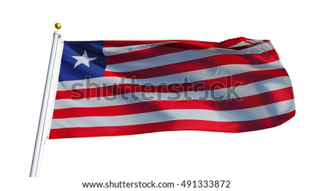 Liberia Flag Waving On White Background Stock Photo (Edit