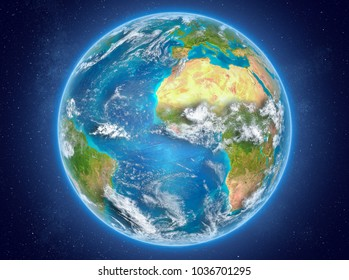 Liberia in red on model of planet Earth with clouds and atmosphere in space. 3D illustration. Elements of this image furnished by NASA.