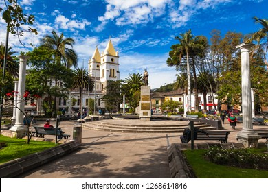 Libertador Simón Bolívar Park, has the church Catedral San Pedro de Guaranda and the monument to the Liberator, in the center of the city of Guaranda capital of the province of Bolivar, Ecuador