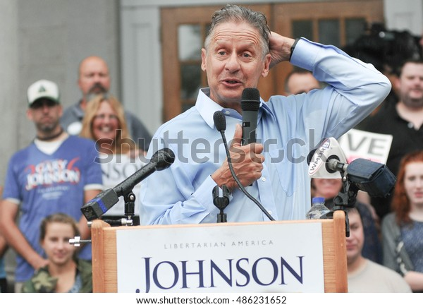 Libertarian presidential candidate Gary Johnson speaks in Concord, New Hampshire, August 25, 2016.
