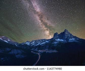 Liberty Bell and Kangaroo Ridge with Milky Way and Mars, Washington State