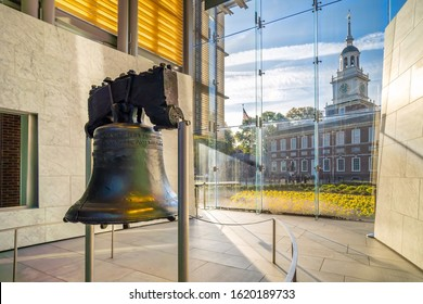 Liberty Bell old symbol of American freedom  in Philadelphia Pennsylvania, USA