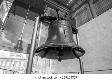 Liberty Bell  old symbol of American freedom  in Independence Mall building in Philadelphia Pennsylvania black and white