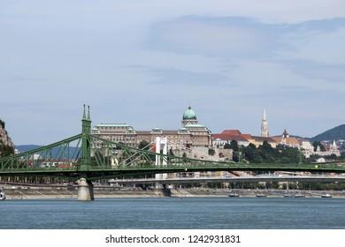 Liberty bridge over Danube river Budapest cityscape