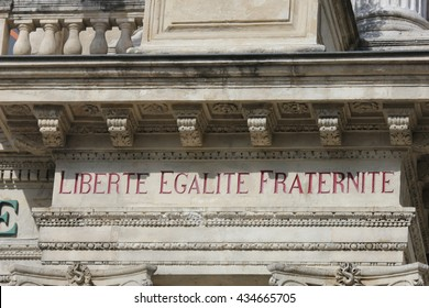 Liberty, equality, fraternity inscripted in French,  the national motto of France