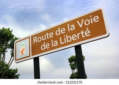 Liberty Road sign - Path of Liberty is the commemorative way marking the victorious route of the Allied forces from D-Day in June 1944. Starts in Ste.-M�¨re-��glise, France and ends in Bastogne, Belgium
