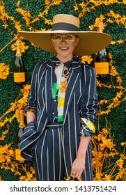 Liberty State Park, NJ - June 1, 2019: Blair Eadie wearing vintage dress by Ralph Lauren attends 12th Annual Veuve Clicquot Polo Classic at Liberty State Park