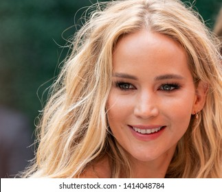 Liberty State Park, NJ - June 1, 2019: Jennifer Lawrence wearing dress by Rosie Assoulin attends 12th Annual Veuve Clicquot Polo Classic at Liberty State Park