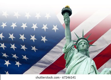 The Liberty Statue and the American Flag