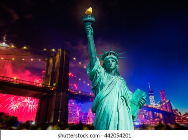 Liberty Statue and Brooklyn bridge on july 4 th fireworks New York America photomount