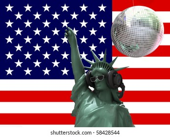 liberty statue dancing at disco