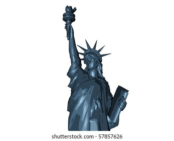 liberty statue sketched isolated on white background