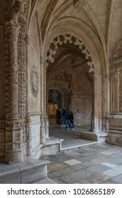 Libon, Portugal - January 3, 2018: Monastery of Jeronimos (Mosteiro dos Jeronimos), manueline style, in Lisbon, Portugal.