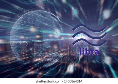 Libra concept, Libra coin cryptocurrency and block chain,new digital currency.Double exposure night city and  Futuristic Global design