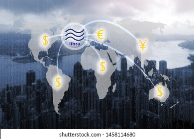 Libra concept connection with digital money transfer on world map and global communication.Libra coin cryptocurrency and block chain,new digital currency.