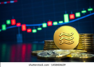 Libra cryptocurrency exchange trading concept. Libra is new electronic currency recently introduced by major company. Libra was reported to be utilized on online payment on many partner websites.