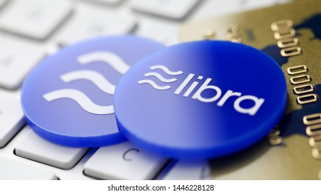Libra - new blue cryptocurrency coin. Digital currency exchange concept