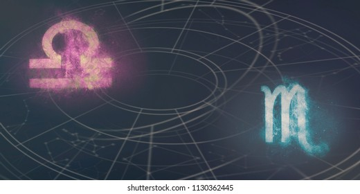 Libra and Scorpio horoscope signs compatibility. Night sky Abstract background.