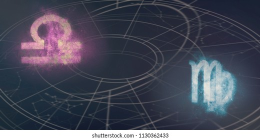 Libra and Virgo horoscope signs compatibility. Night sky Abstract background.