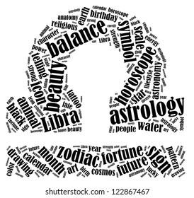 Libra zodiac info-text graphics composed in Libra zodiac sign shape on white background