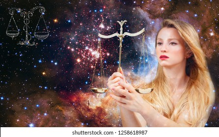 Libra Zodiac Sign. Astrology and horoscope concept, Beautiful woman Libra on the galaxy background