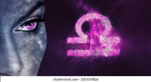 Libra Zodiac Sign. Night sky Astrology women