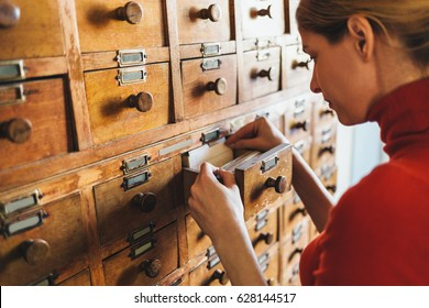 Librarian opens library card index. Young woman open file catalog box. Database concept