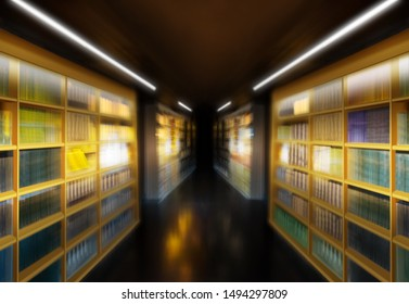 Library with blurred books in diminishing perspective