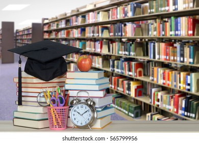 library with book for education concept (blurry background)