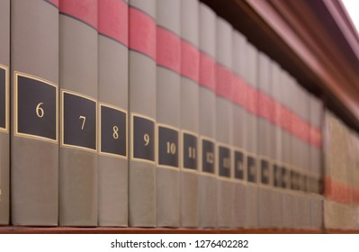 Library Books with numbers on a shelf
