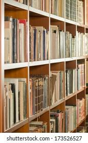 Library bookshelf side view