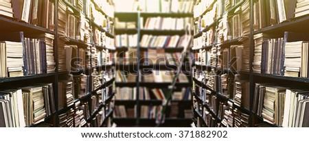 Library Bookshelves Background Stock Photo Edit Now 371882902