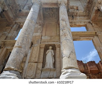 Library of Celsus is an ancient Roman building in Ephesus (Turkey). Woman's sculpture between two columns in the middle of composition.