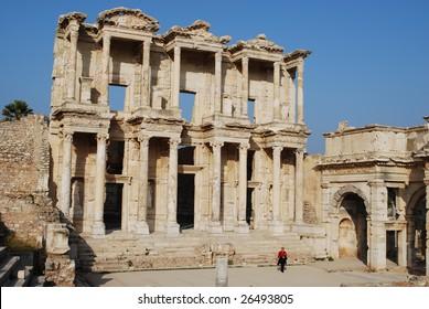 Library of Celsus, Ephesus, Turkey. Built for Roman Consul Tiberius Julius Celsus Polemaeanus by his son Gaius Julius Aquila