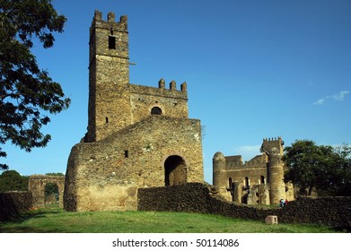 Library and Fasiladas' Palace in the Royal Enclosure at Gondor in Ethiopia