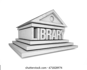 Library icon, 3D illustration