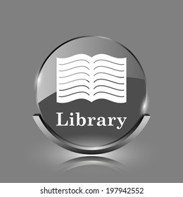 Library icon. Shiny glossy internet button on grey background.