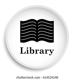 Library icon. Library website button on white background.